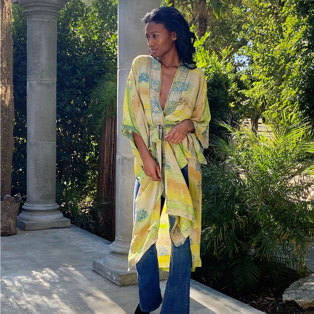 Yellow vintage silk indian robe - The fox and the mermaid
