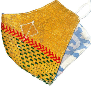 Yellow hand stitched vintage reusable kantha mask - The Fox and the Mermaid