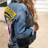 Side view of Denim Jacket with beading The Fox and the Mermaid
