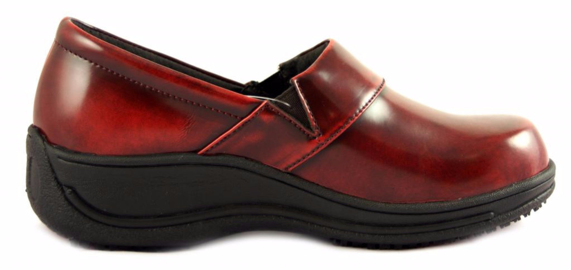 0c8113f53c1 SRS Judith Women's Slip Resistant Leather Color Clog Red