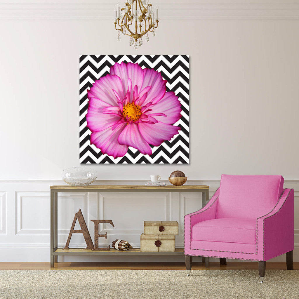 Canvas Print Hot Pink Flower On Bw Chevron Sp Fine Prints