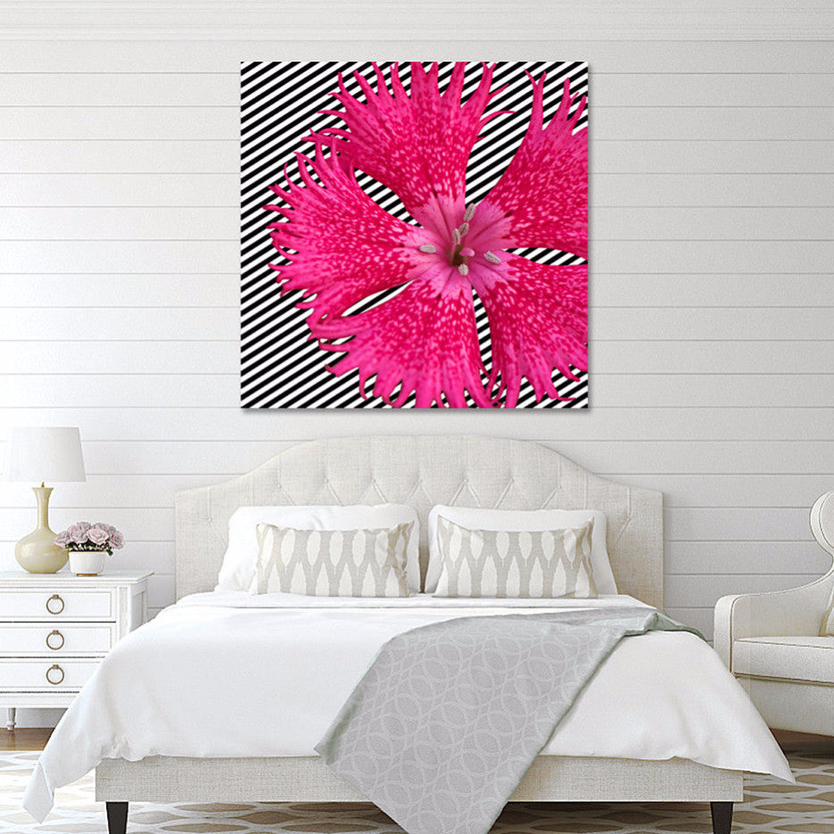 Canvas print pink flower on bw stripes sp fine prints designs canvas mightylinksfo