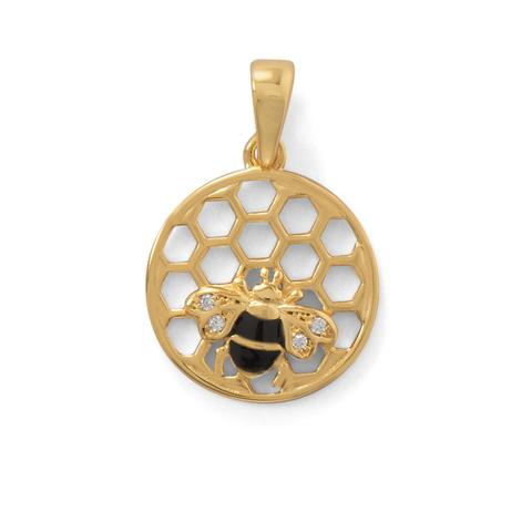 Honeycomb with Bee Pendant