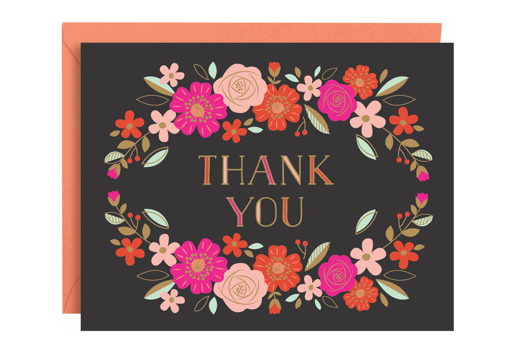 Floral Foil Thank You Boxed Cards