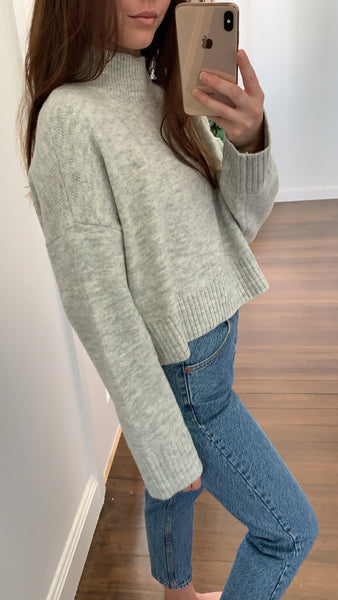 Miella Crop Knit Jumper Grey