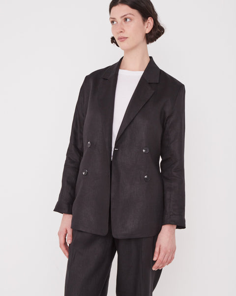 Assembly Label Double Breasted Linen Blazer Black