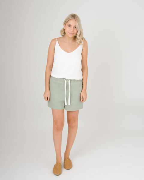 Assembly Label Basis Linen Short Olive