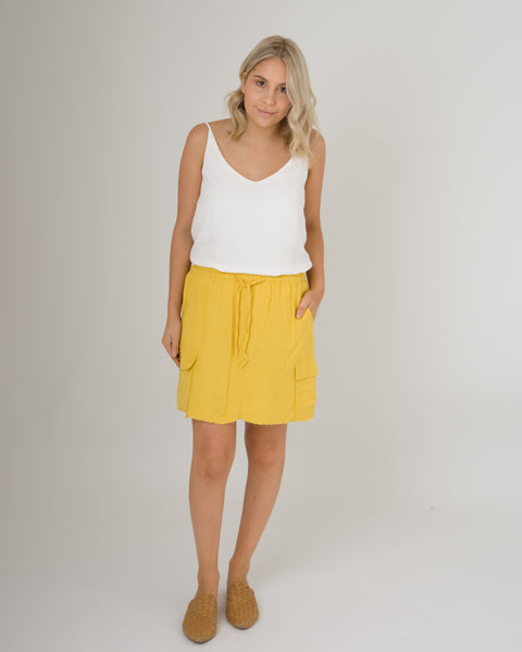 Little Lies Pocket Mini Skirt Mustard