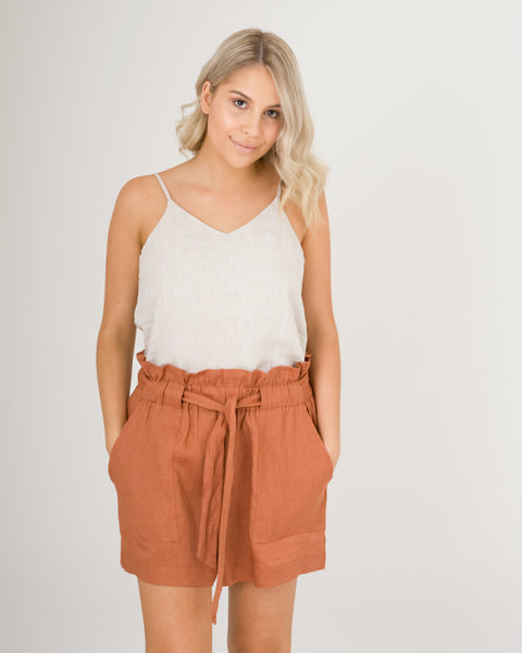 Ebony Linen Shorts Terracotta