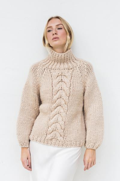 Hello Parry Rayne High Neck Cable Jumper Sand