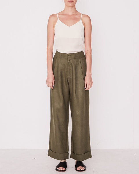 Assembly Label Tailored Linen Pant Thyme