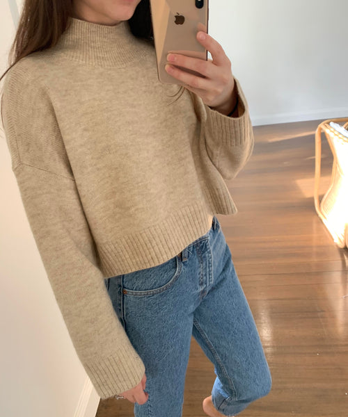 Miella Crop Knit Jumper Natural