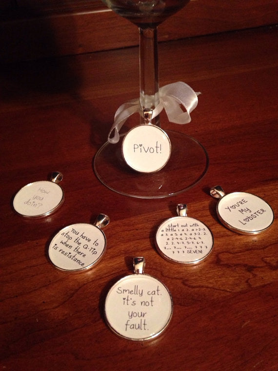 friends wine glass charms