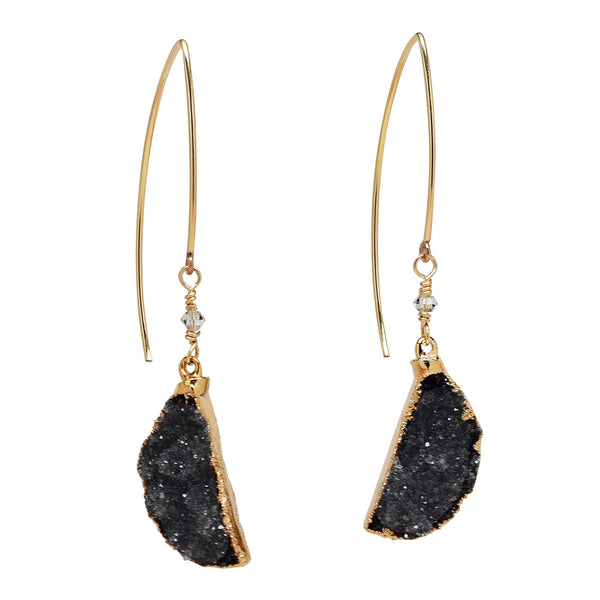 Black Drusy Half Moon Earrings