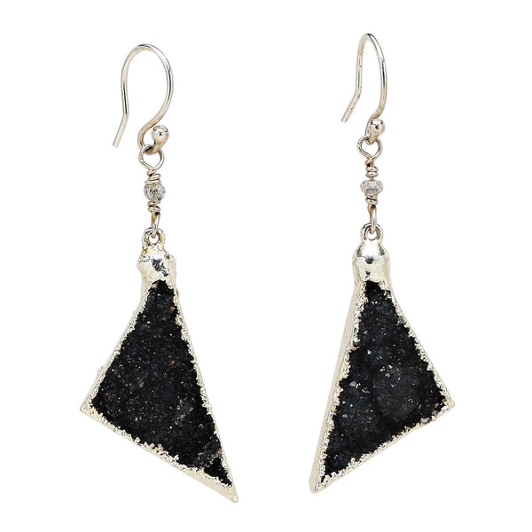 Black Drusy Triangle Sterling Silver Earrings