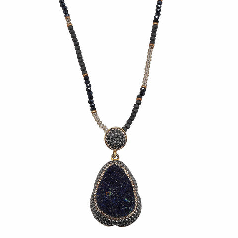 "Purple Drusy Fancy Teardrop Pendant 34"" Necklace"