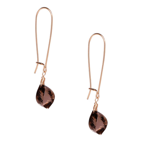 Smoky Twisted Quartz Earrings