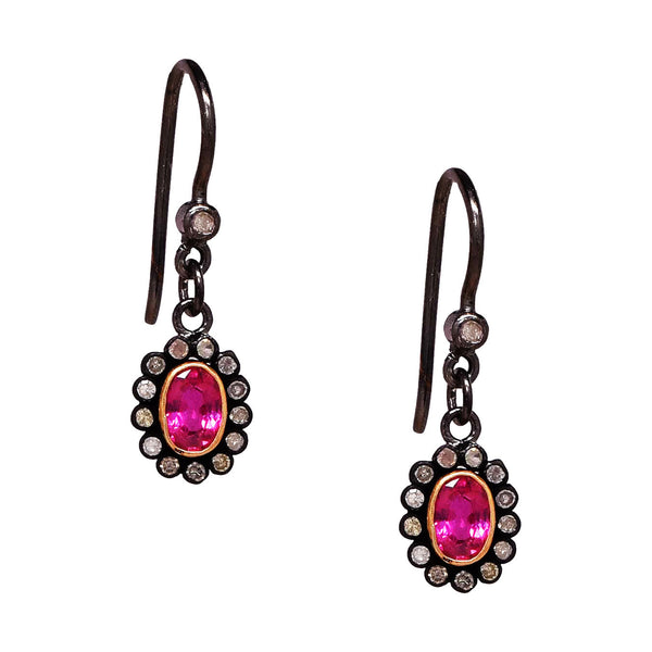 Ruby and Diamond Oval Drop Earrings