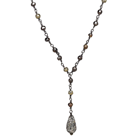 "Pavé Diamond Teardrop Pendant 18"" Necklace with Pyrite"