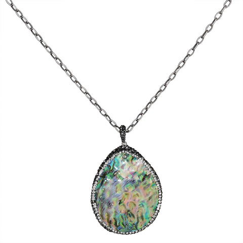 "In Honor of Rob -  Abalone Pendant 34"" Necklace"