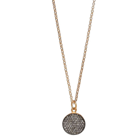 "Pavé Diamond Round Pendant 16"" Necklace"