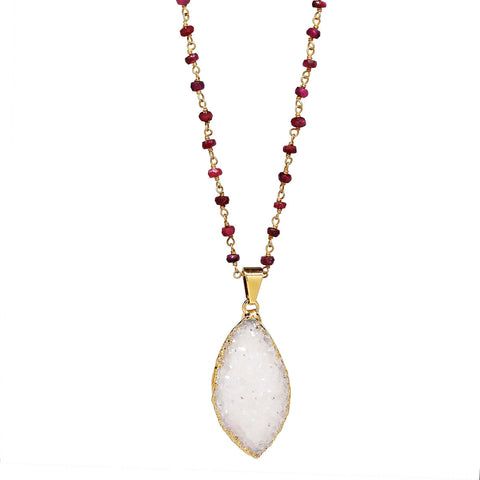 "White Drusy Cat Eye Pendant 19"" Necklace with Rubies"