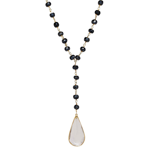 "Clear Quartz Teardrop Pendant 34"" Necklace with Pyrite"