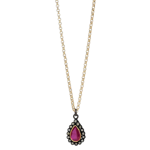 "Ruby and Diamond Teardrop Pendant 16"" Necklace"