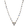 Moonstone and Pavé Diamond Pendant on Sapphire Necklace 18""