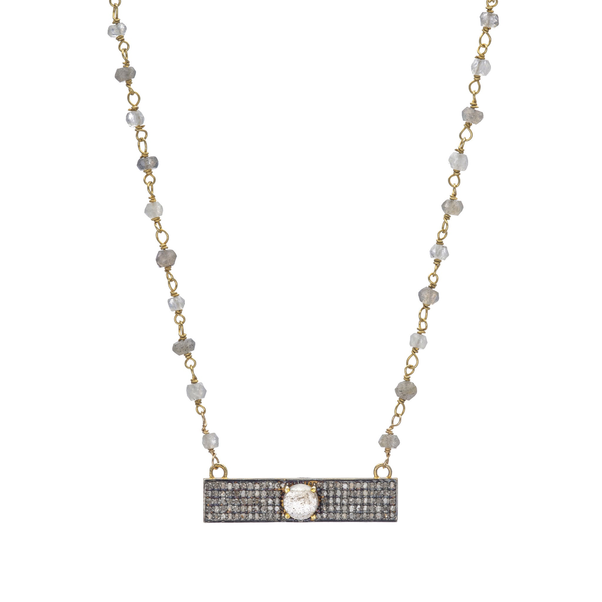 crystal necklace vaults iolite pendant