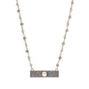 Pave Diamond Bar Necklace Iolite 18""