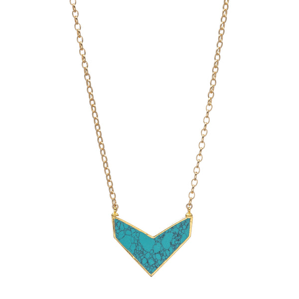 Turquoise Chevron Pendant on Gold Necklace 20""