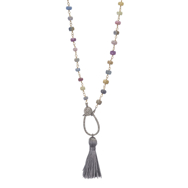 "Pave Diamond Clasp Multi Sapphire 30"" Necklace with Tassel"