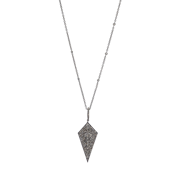 Pavé Diamond Kite Pendant on Sterling Silver & Diamond Chain