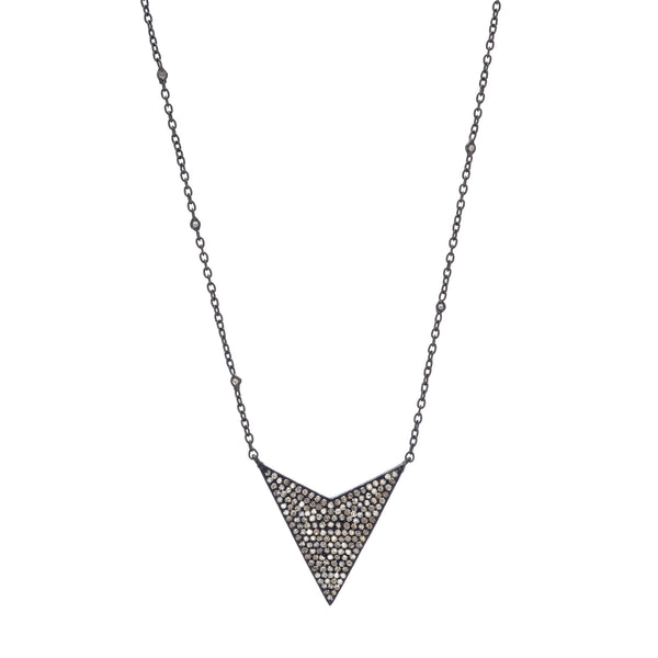 Pavé Diamond Arrow Necklace on Sterling Silver & Diamond Chain 17-19""