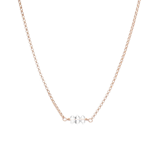 Rose Gold Necklace with Herkimer Diamonds