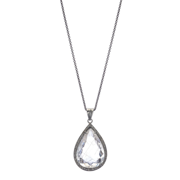 Clear Quartz Teardrop Pendant with Pavé Diamonds 20""