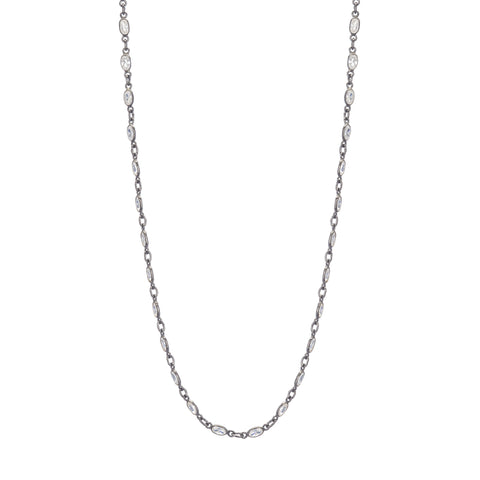 Oxidized Sterling Silver Chain with Cubic Zirconia 32""