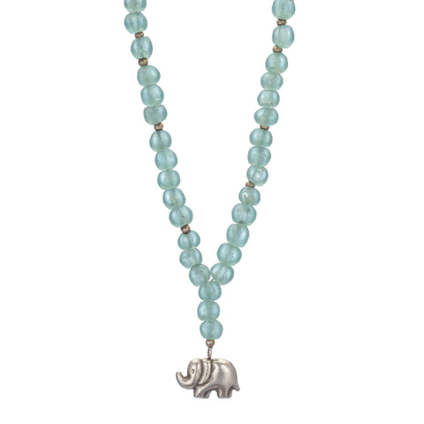 African Dogon Bead Necklace with Tibetan Silver Elephant Pendant