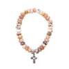 Australian Pink Opal Bracelet with Sterling Silver Cross Charm