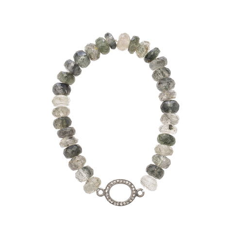 Green Rutilated Quartz Bracelet with Pavé Diamonds