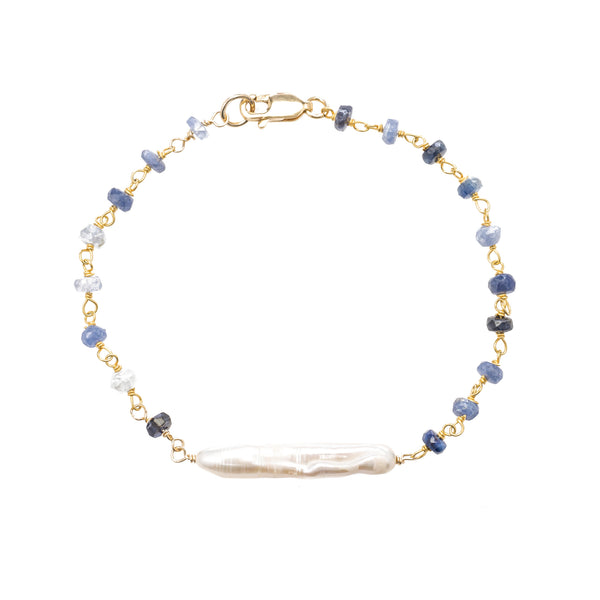 Stick Pearl and Sapphire Bracelet