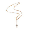 Clear Quartz Tibetan Pendant on Wood Rosary Necklace 40""