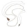 Wood Pendant with Pavé Diamond Feather on Silver and Diamond Necklace