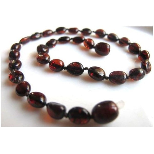 OVAL RED BALTIC AMBER BABY TEETHING NECKLACE wholesale