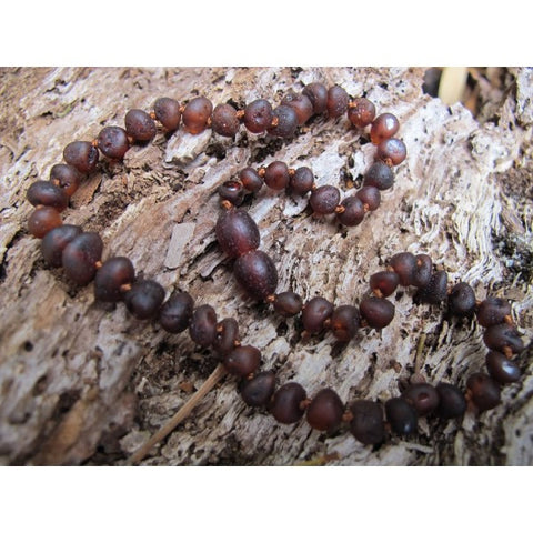 RAW CHERRY AMBER BABY TEETHING NECKLACE