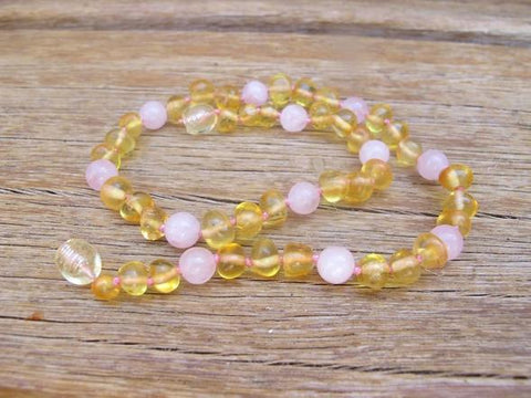 Amber  and rose quartz necklace