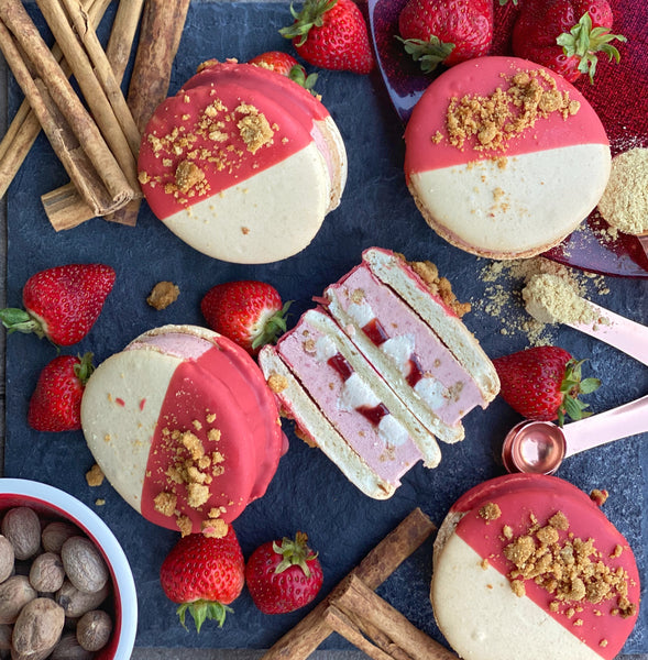 Strawberry Ginger Spice Cheesecake Macaron Ice Cream Sandwich