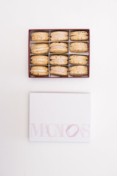 12 Piece Box of Macarons: Pineapple Upside Down, Blueberry Brioche Toast, Hibiscus Passionfruit