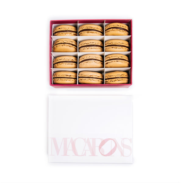 12-Piece Box of Macarons: Chocolate Ganache